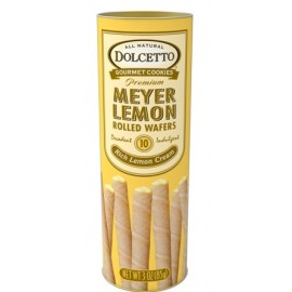 All Natural Meyer Lemon Cream Filled Wafer Rolls   85g