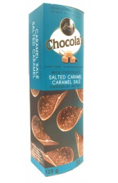Chocola's  Milk Chocolate Salted Caramel  Crispy Thins 80g.