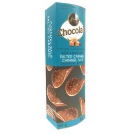 Chocola's  Milk Chocolate Salted Caramel  Crispy Thins 80g.