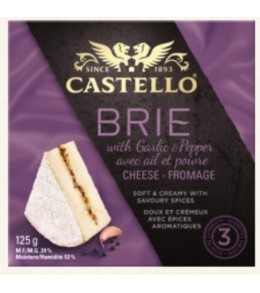 Brie with Garlic and Pepper  125g.
