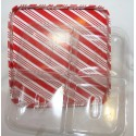 "Red/ White Stripe Candy / Nut Tray with 4 Section Insert  8 1/2"" X 8 1/2' x 1 1/2"""