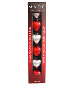 Milk and Dark Chocolate Truffles Hearts in foil  6pc. 78g.  ** ON SALE **